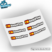 6 PICS Personal Name and Flag Decals Road Bicycles Mountain