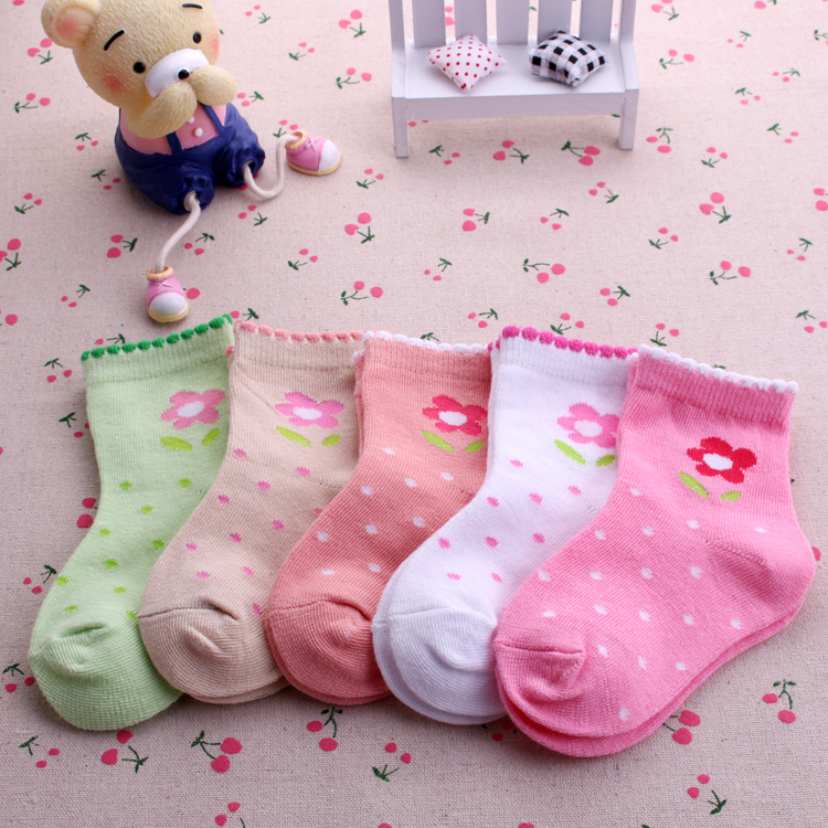 Autumn and winter small flower cotton baby socks 1-12 years old female child socks girls cotton socks