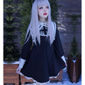 Mulheres japonesas kawaii bonito lolita escuro monaquismo freira cruz bordado cosplay feminino de manga comprida do vintage dress mori menina z194