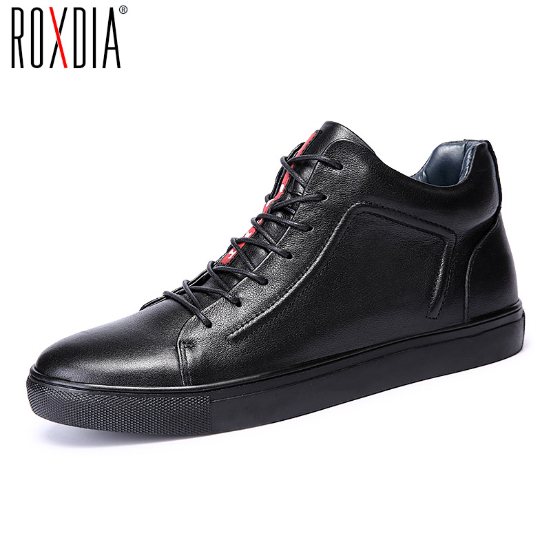 ROXDIA genuine leather men ankle boots snow winter warm fashion work male waterproof for mens shoes plus size 39-48 RXM051 2016 hot sale male snow boots genuine leather ankle suede snow boots winter shoes for men and women mens boot shoe 35 48