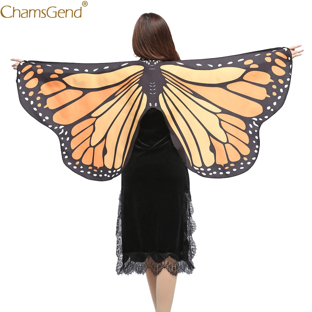Chamsgend Women Girls Butterfly Wings Shawl Pashmina Poncho Fairy Ladies Party Show Festival Cosplay Costume Accessory 80117