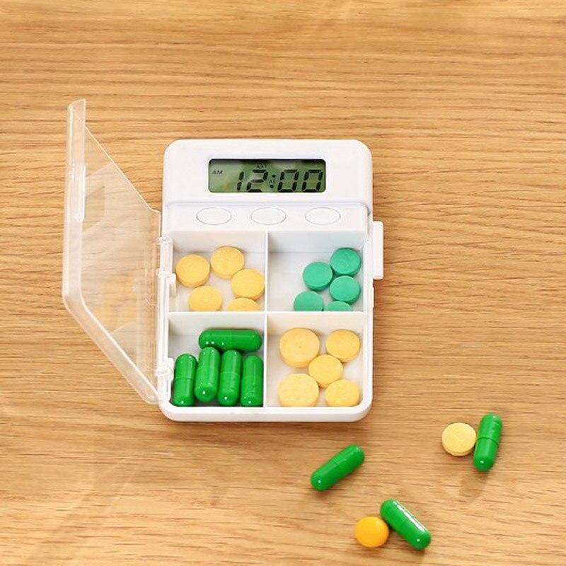 4 grid умный время напоминание Pill Box Портативный Организатор чехол для хранения hogard