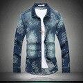 Пастырское стиль моды изысканные печать с длинным рукавом джинсовые рубашки camisa masculina 2016 Осень и Зима качество рубашка мужчины М-5XL