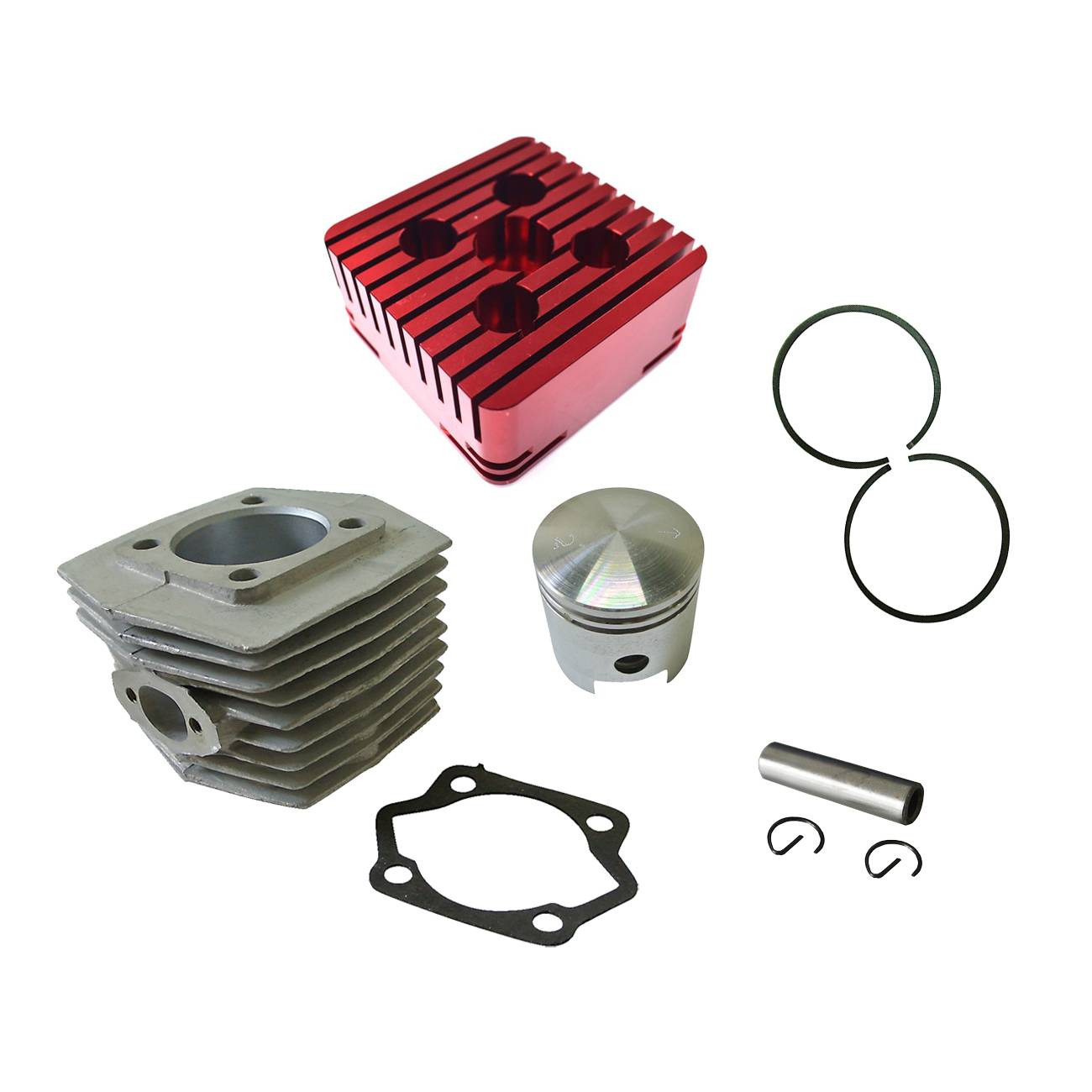 Red CNC Square Cylinder Head&Cylinder&Piston For 66cc 80cc Motorized Bike cylinder