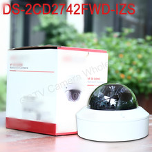 Free shipping english version DS-2CD2742FWD-IZS Audio, POE 4MP WDR Vari-focal Motorized Lens Dome Network IP Camera IK10