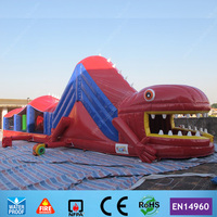 45ft Giant Lizard Inflatable Obstacle Course With Slide And Rock Climbing For Sale With 2 CE