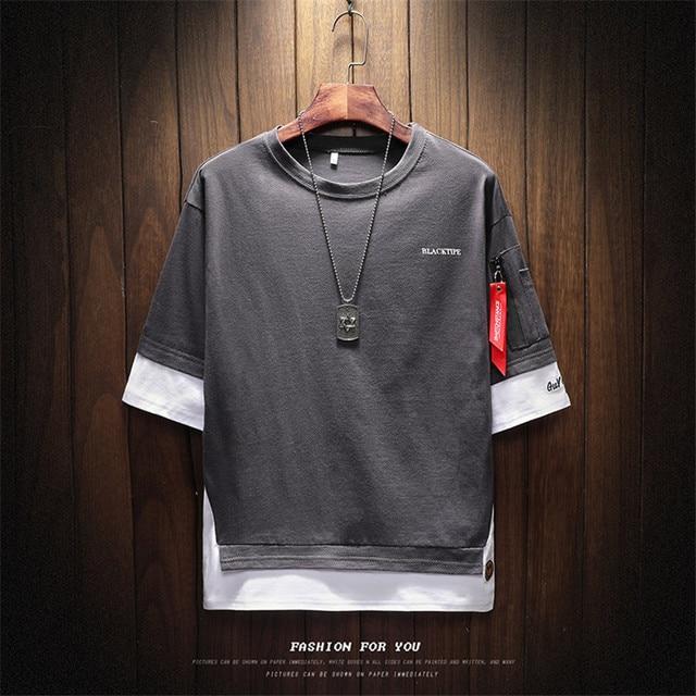 2018 Summer Korean Version Of The New Men's Belt Pendant Casual Round Neck Large Size Left Sleeve Zipper T-shirt Men's Clothing 1