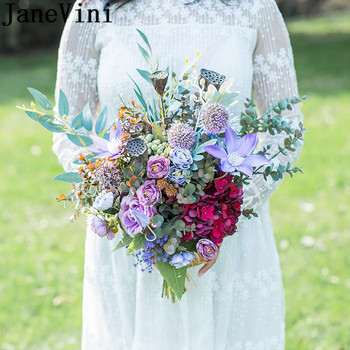 JaneVini 2019 Hot Sale Romantic Wedding Flowers Bridal Bouquets Purple Artificial Flower Roses Braided Rope Handle Flower Buque