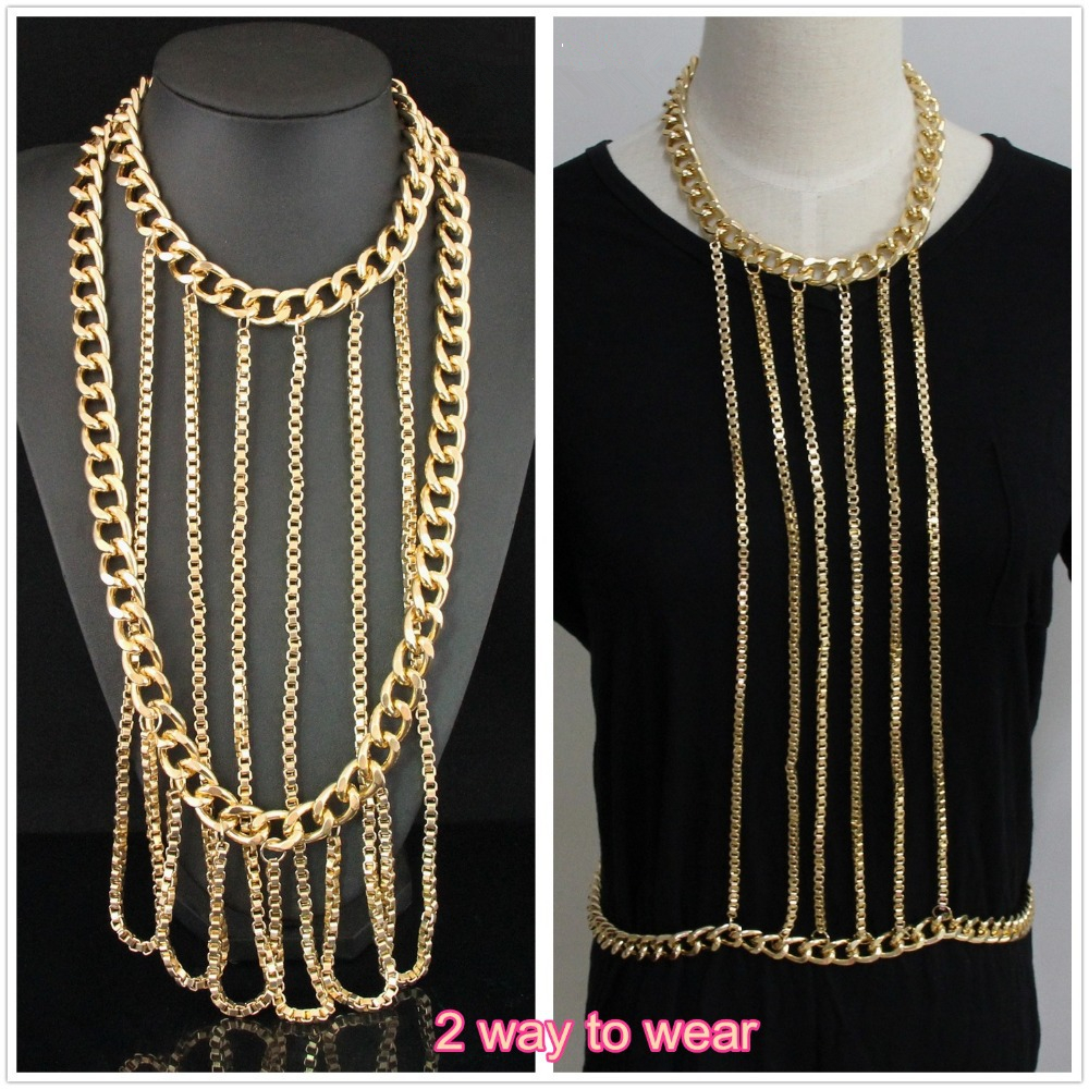 CirGen Fashion Body Belly Gold Color Tassel Chunky Choker Chains Collar Chain Statement Necklace For Women Jewelry ItemC26