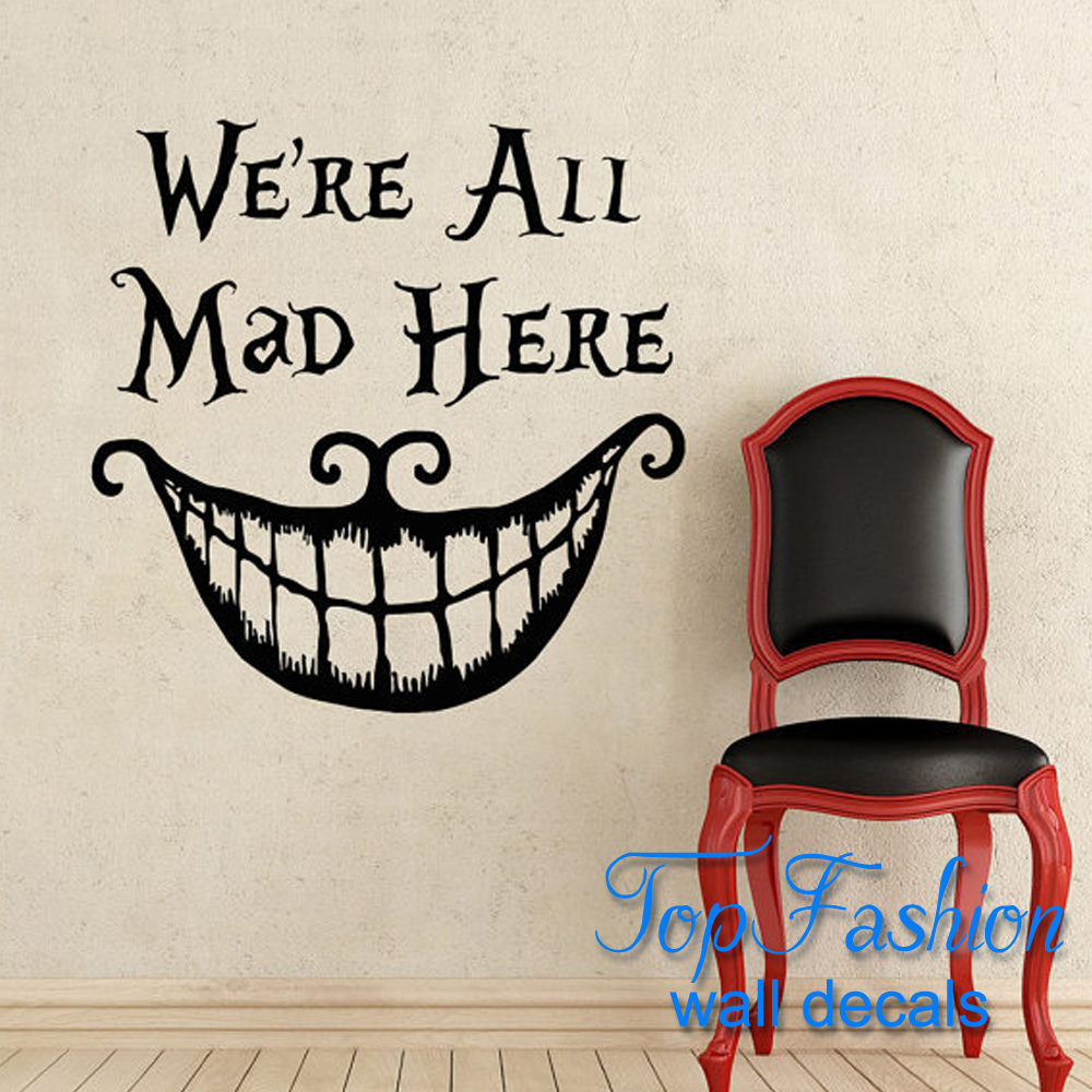 Alice In Wonderland Wall Decal Quote Cheshire Cat Sayings ...