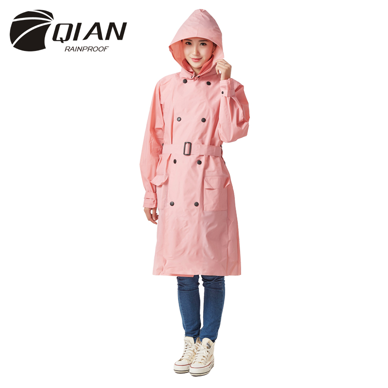 QIAN RAINPROOF Impermeable Raincoat Women EVA Vattentät Trench Coat Windbreaker Avtagbar Hooded Poncho Rainwear Rain Gear