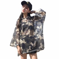 2017ブランド迷彩ネット中空半袖フード付きシャツ女性bf緩い日焼け止め服ブラウス女