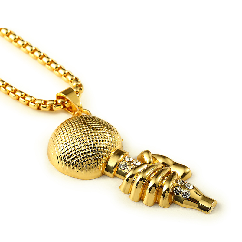 New Gold High Quality Hip hop DJ microphone pendant Necklace with Rhinestone Men snake chain 80 cm