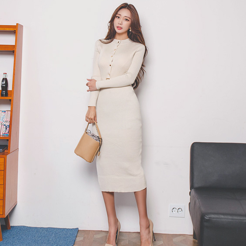 Elegant Single Breasted Women Sweater Dress O-neck Full Sleeve Sashes Stretch Vestidos Female Knee-length Knitted Dress 2019