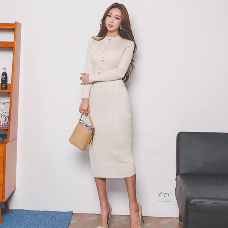 Elegant Single Breasted Women Sweater Dress O neck Full Sleeve Sashes Stretch Vestidos Female Knee length Knitted Dress 2018
