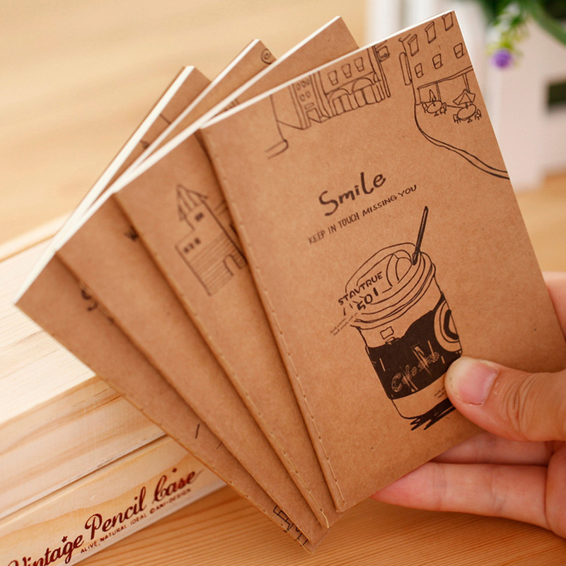 1 X Vintage Cartoon Mini Motebook Diary Notepad Kawaii Stationery Paper Memo Pad Papelaria School Office Supplies