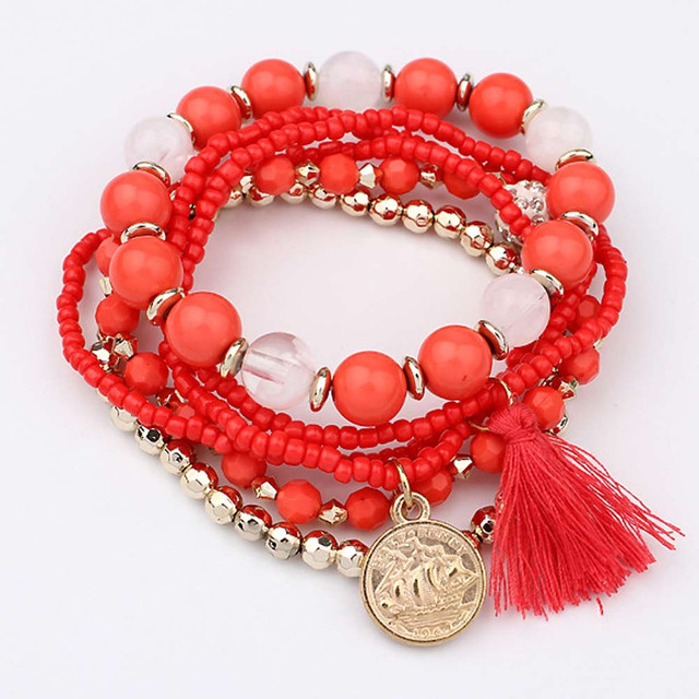 HOT Brand fishion Women girl Multilayer Beads Bangle Multiple colors Tassels Bracelets bangles 25#201809123010 3