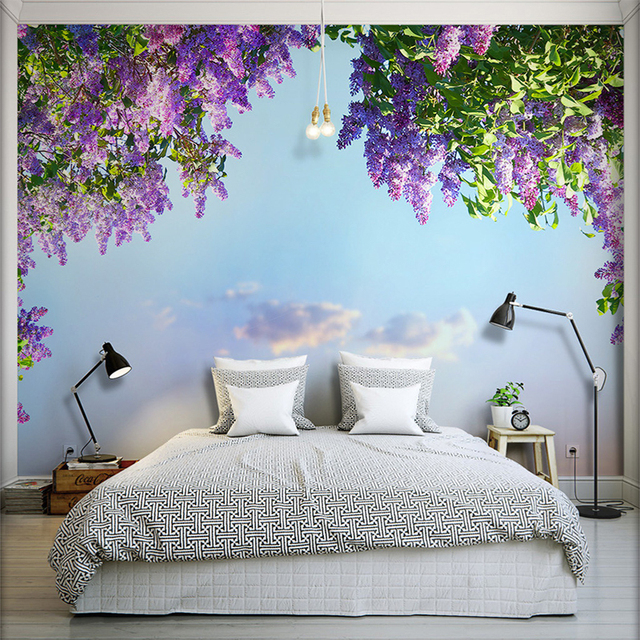 Super 3D Room Landscape Wallpaper Beautiful Flowers Violet Wall Mural  YS32
