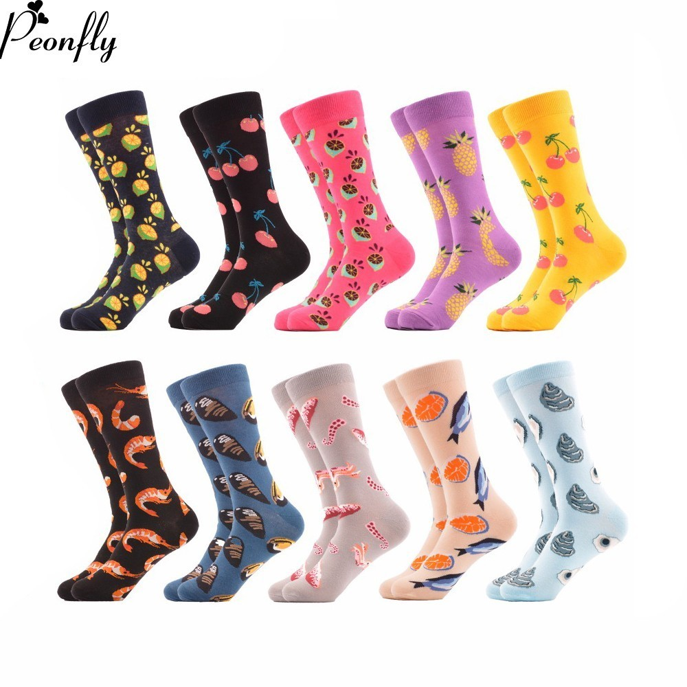 PEONFLY 10 pairs/lot Funny Mens Colorful Combed Cotton Socks Casual Dress Socks Fruit Sea Food Pattern Crew Socks Wedding Gift