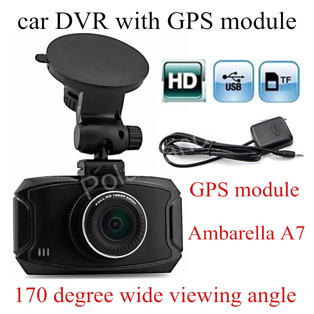 free shipping 2. 7 inch Ambarella A7 Car DVR GS90A Camera HD Recorder Dash Cam With GPS module 170 degreewide viewing angle gs 6301 hd купить во владимире