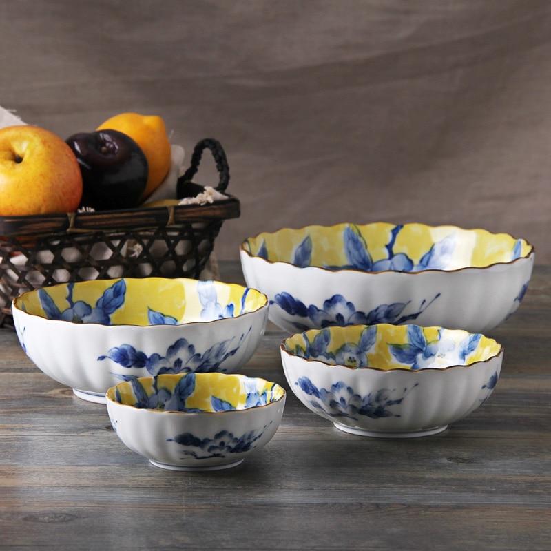 Made In Japan yellow riches ceramic dinnerware <font><b>set</b></font> porceclain bowls 4pcs/<font><b>set</b></font> handpaint tableware rice fruit soup bowl gift box