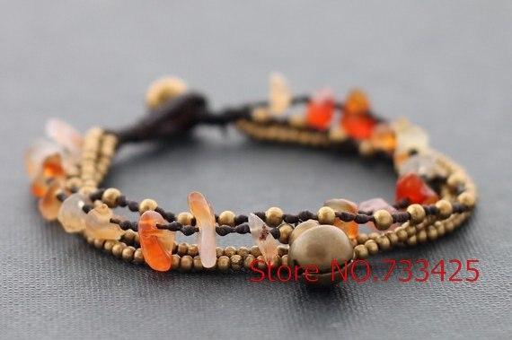 Cornaline Bracelet chaîne en laiton Bracelet avec la main cire de cordon  tissé thai style Brass bell Bracelet de fermeture pour les femmes, 5  pcs lote 764b42a0e9b8