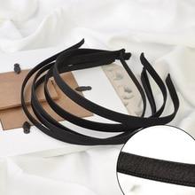 10 шт 5 мм 10 мм черная лента Grosgrain покрыты однотонные металлические повязки с бархатом, с проволочной повязки для волос, DIY аксессуары для волос