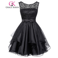 Lace Short Prom Dress Grace Karin Sleeveless Mid Thigh Mini Party Gowns O Neck V Back