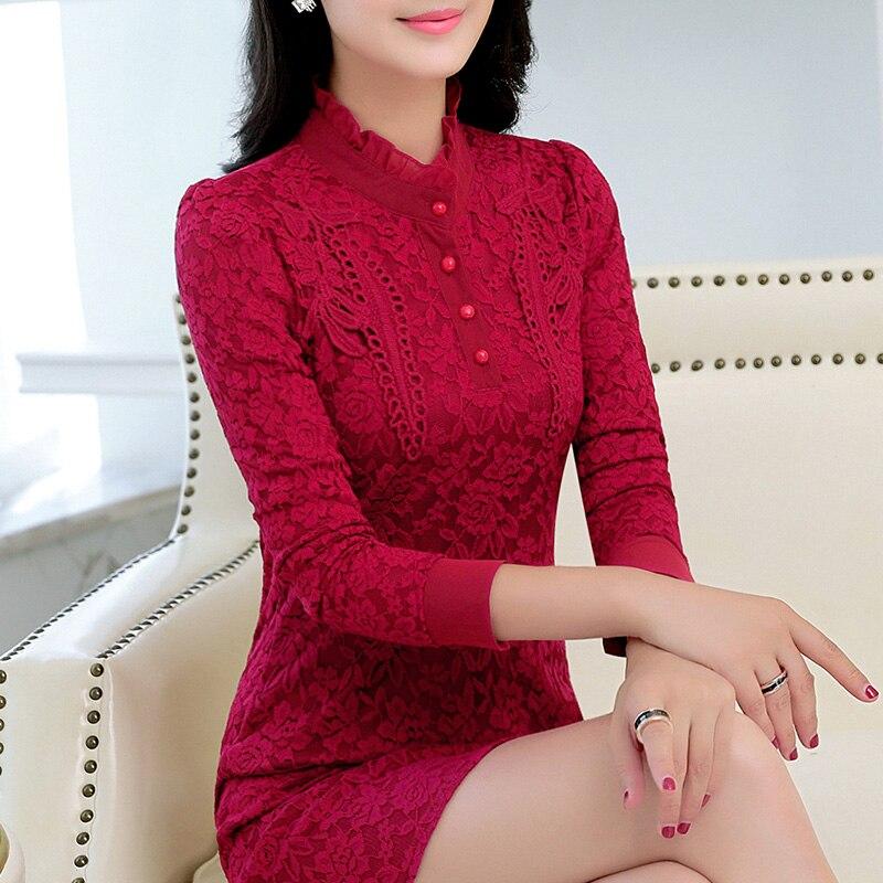 2018 hiver nouvelle grande taille (S-5XL) femmes robe couleur océan dentelle robe à manches longues plus velours épais chaud robe TB181000