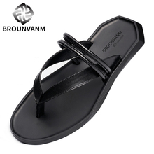 New Men REAL Leather Black T-Strap Flip Flops Casual Sandals Slipper Shoes Summer Beach Touring