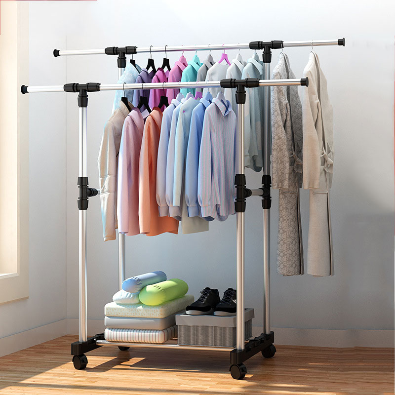 Double Pole Floor Stand Drying Rack Balcony Telescopic Coat Rack Lifting Drying Rack With Windproof Hook Folding Clothes Rack