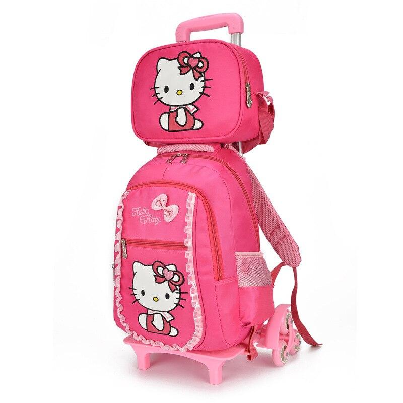 새로운 초등 학교 트롤리 책 가방 만화 헬로 키티 배낭 아이들을위한 바퀴 달린 가방 애니메이션 학교 가방 jojo siwa-에서학교가방부터 수화물 & 가방 의  그룹 1