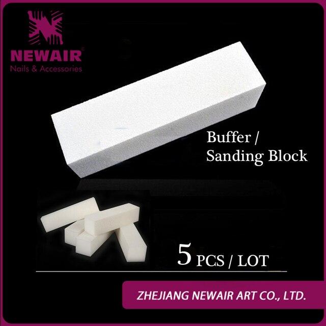 Hot Sale 5 Pcs White Nail File Buffer Block Acrylic Nail Tips ...