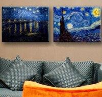 2 Pièce Étoilé Ciel Photos peint à la Main Abstraite Bleu Nuit Scène Peinture À L'huile À La Main Home Decor Toile Peintures Mur Art