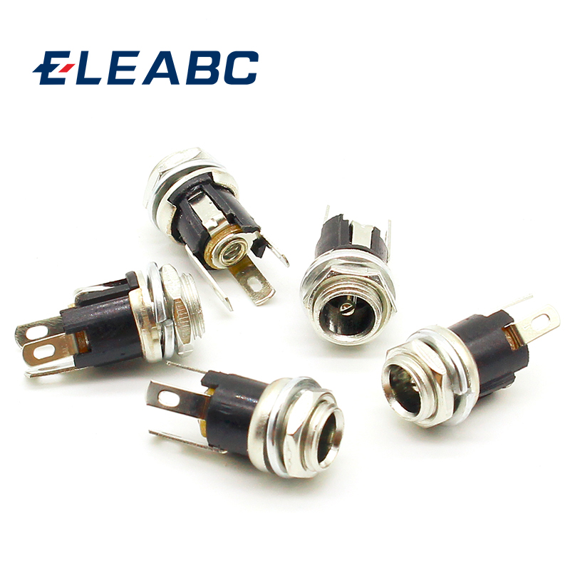 5 Pcs 5.5mmx2.1mm DC Power Jack Socket Female Panel Mount Connector