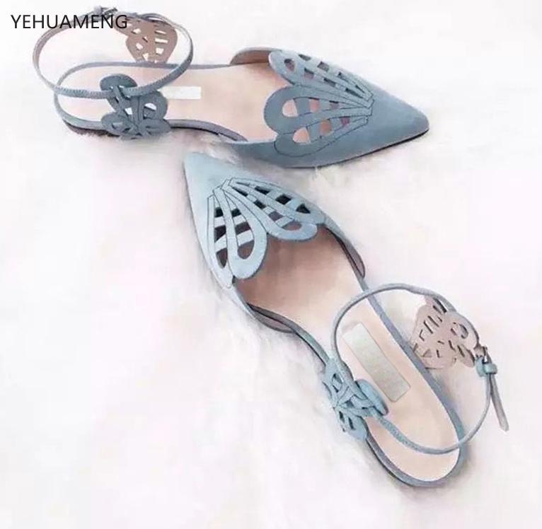 LALA IKAI Women Flats Shoes Cover Toe Solid Shallow Buckle Strap Sandals Summer Fashion Elegant Women Sandalias XWA1200-456.15