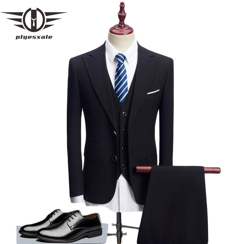 Plyesxale Dress Suit Men 2018 Slim Fit 3 Piece Groom Wedding Suits For Men Black Blue Mens Business Suits High Quality Q131