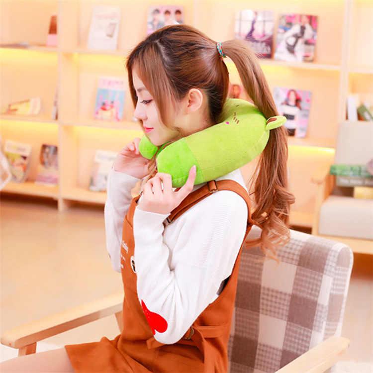 かわいい U 字型のアニ枕子供快適な旅行車のヘッドレスト首保護漫画猫ソフトクッションのための子供