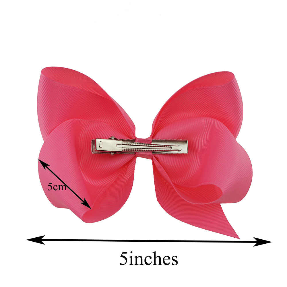 Your Bows 5Inch Solid Hair Bows Hairpins Handmade Polyester Bows Hair Clips Headwear Children Hair Accessories Factory