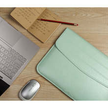 Laptop Sleeve Bag Case PU Leather Pouch 11 12 13 inch For Macbook Pro 13in Air 11in Protect Magnetic Briefcase Cover Samsung