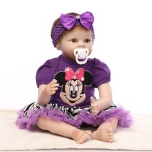 "Export Quality 55cm 22"" NPK Reborn Baby Girl Doll With Purple Cotton Made T-shirt Dress Interactive Vinil +Cotton Bebes Benecas"