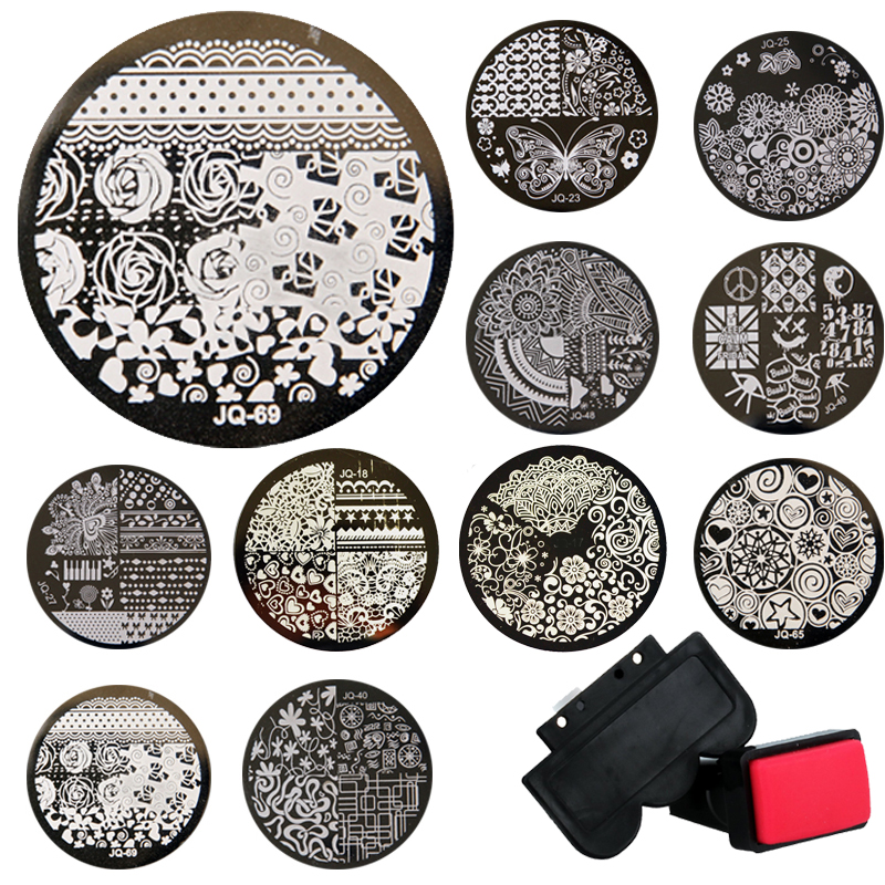 Wholsale 1sets Stamping Kits 10pcs Stampstamperscraper Nail Art