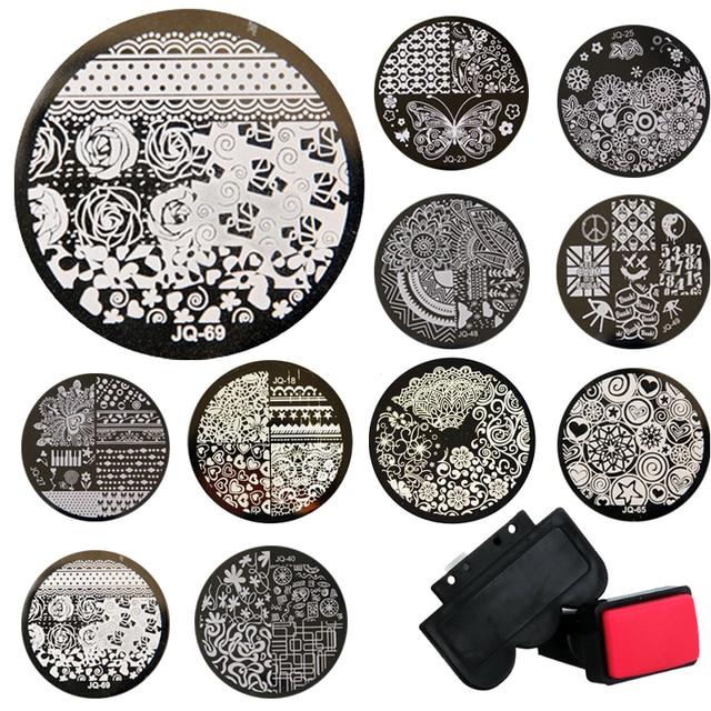 Wholsale 1sets Stamping Kits 10pcs Stamp+Stamper+Scraper Nail Art Round Stainless Steel Plates DIY Polish Templates Nail Tools