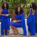 Royal Blue Crystal Vestido de Noche Africana Medio Oriente Arabia Saudita Abrir Volver Vestidos Formales Vestido de Las Mujeres de Moda de La Boda Nuevo Designe