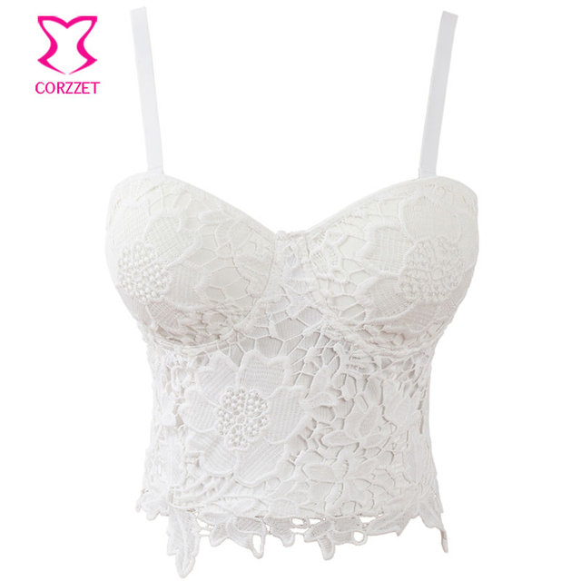 bc3be63f6e Corzzet White Lace Push Up Bralet Women s Corset Bustier Bra Night Club Party  Cropped Top Vest Plus Size-in Bras from Underwear   Sleepwears on ...