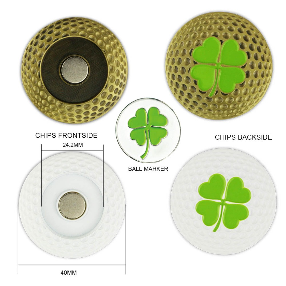 PINMEI Magnetic Metal Golf Ball MarkPoker Chips With One Golf Marker