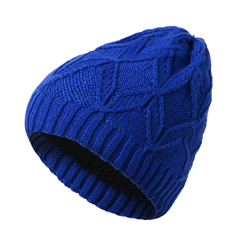 Casual 4 Colors Women Men Knit Hat Thick Fleece Lining Warm Beanies Unisex Solid Skullies Womens Snow Caps Mens Crochet Hats F2