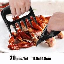 20 teile/los BBQ Bear Claws Grill Gabel Zange Ziehen Fleisch Zerkleinern Schweinefleisch Clamp Rösten Gabel Schwarz BBQ Grill Werkzeug