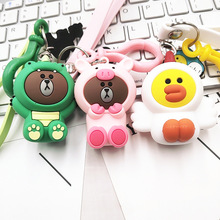 2019 New  Cartoon Brown Bear Keychain Cute Dinosaur Frog Pig Doll Keyrings Kids Toy Key Chain for Women