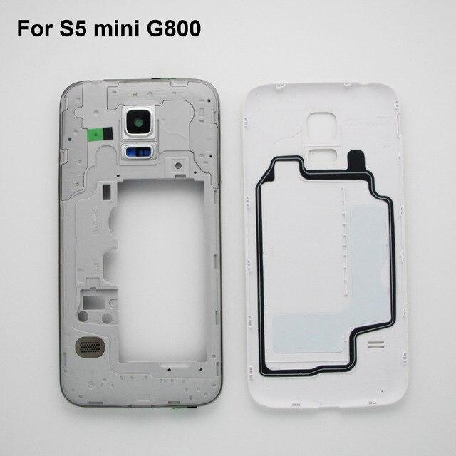 Черный/Белый Телефон Ремонт Частей Для Samsung Galaxy S5 mini G800 Полный жилищно Ближний Рамка рамка задняя крышка крышка (одиночная карта)